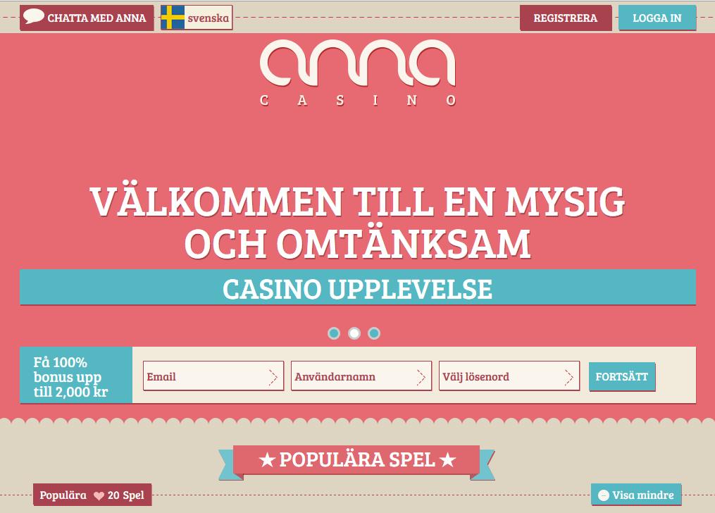 Spela hos Anna Casino på nätet