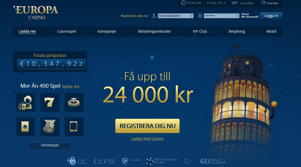 europa nätcasino med priser och vinster med freespins casinobonus