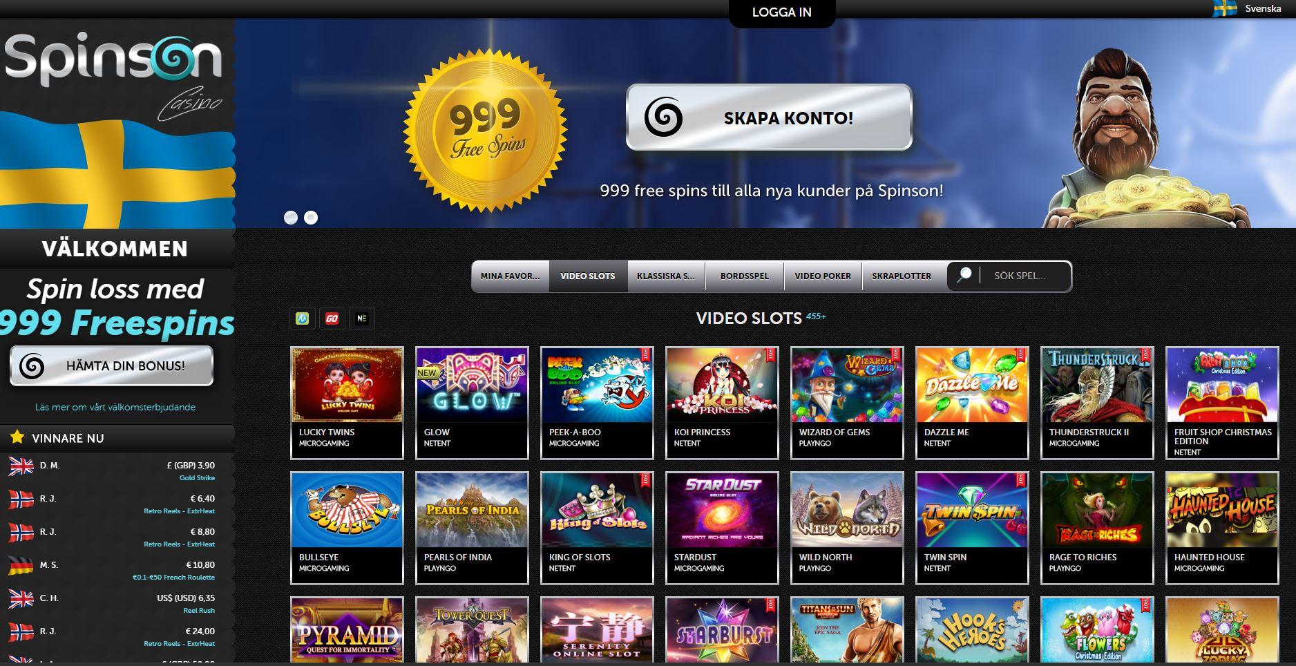 Spela med free spins hos Spinson casino