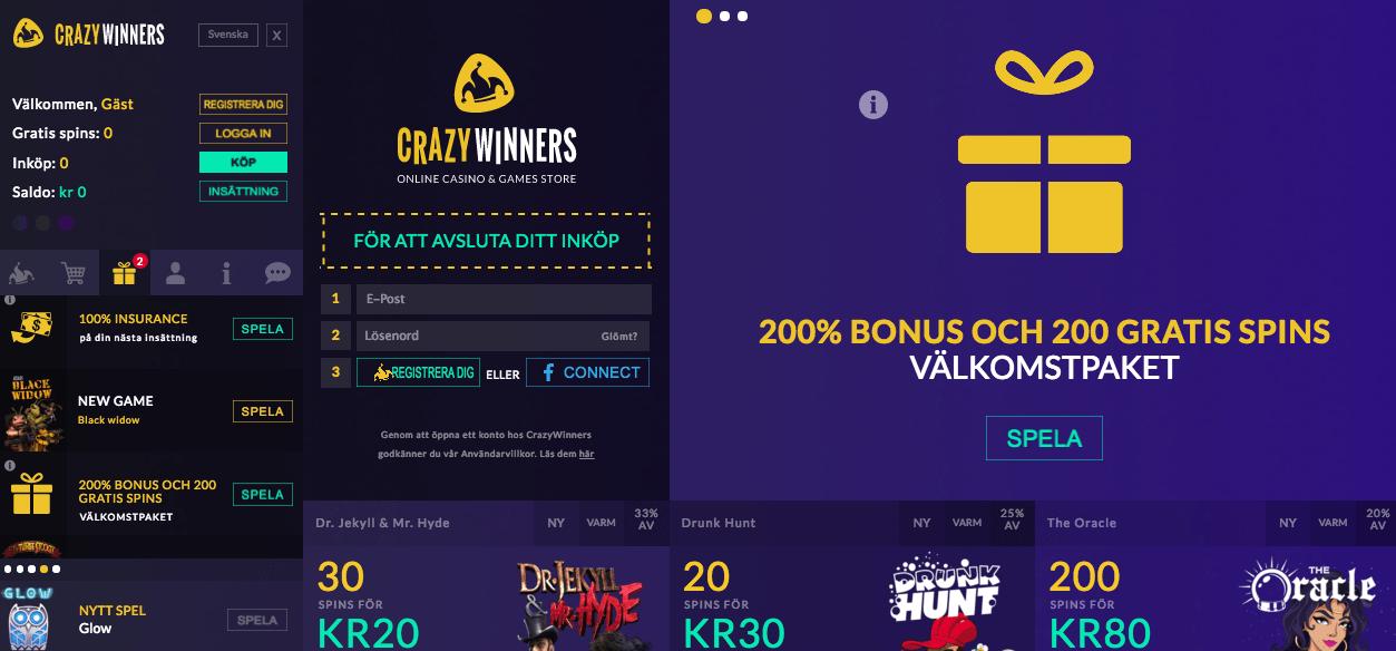 Bonusar får du hos CrazyWinners