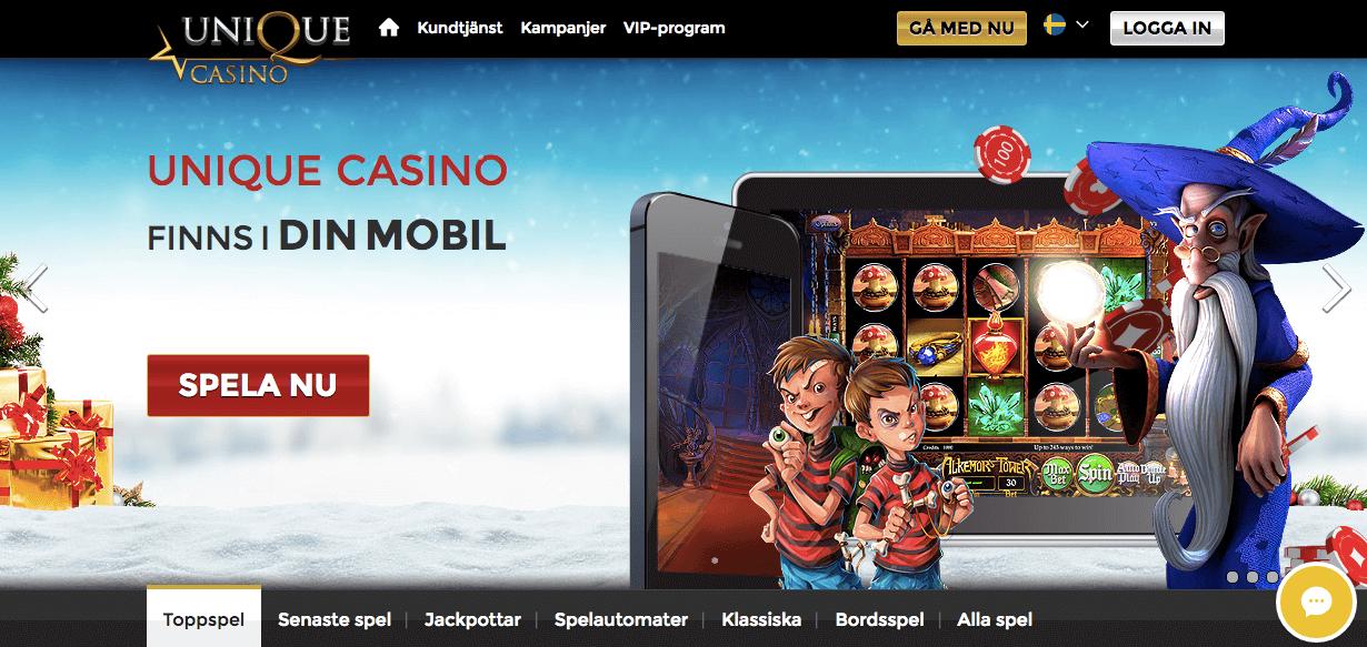 Spela på slots och bordspel hos Unique Casino
