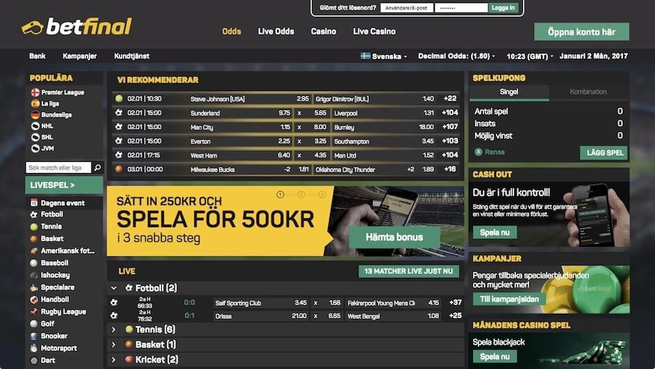 Spela på odds och casino hos Betfinal