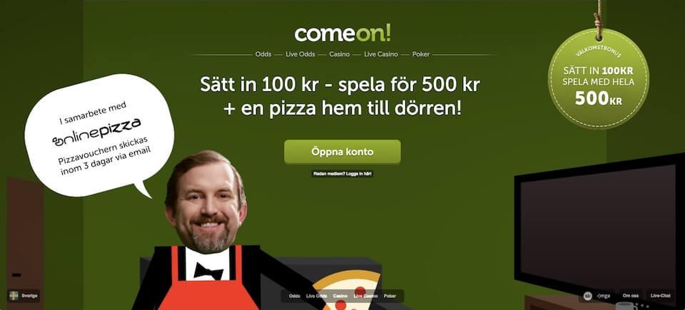 Få pizza vid insättning hos comeon