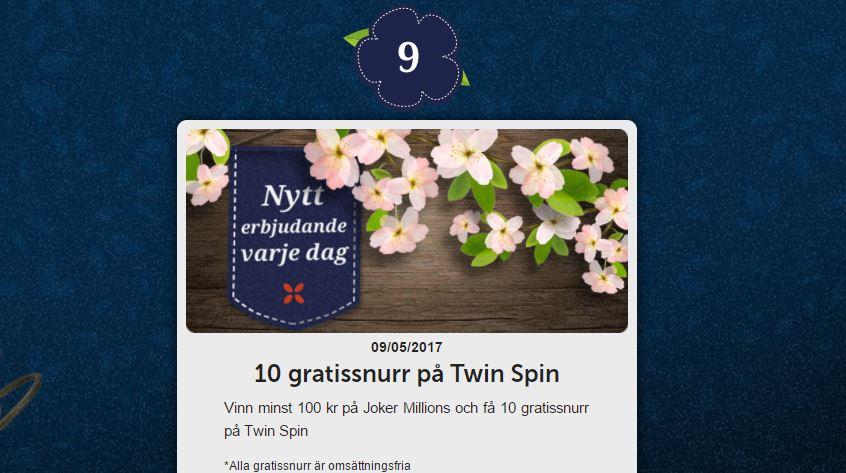 Få 10 freespins på twin spin hos Folkeautomaten