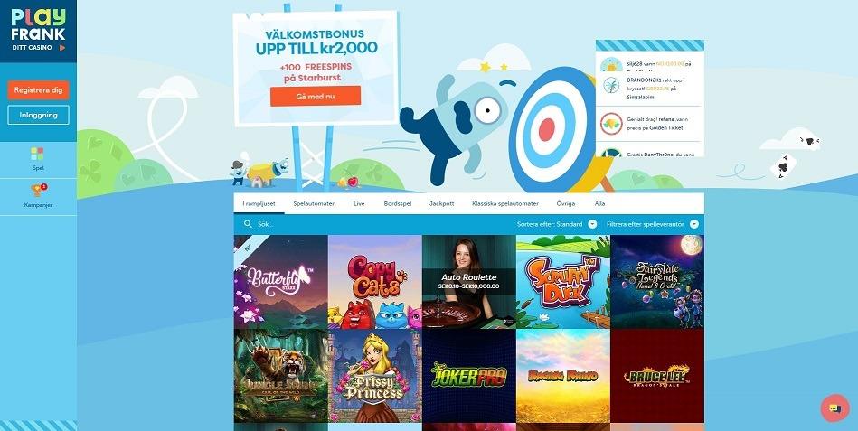 Slots, bonus och trygghet hos PlayFrank