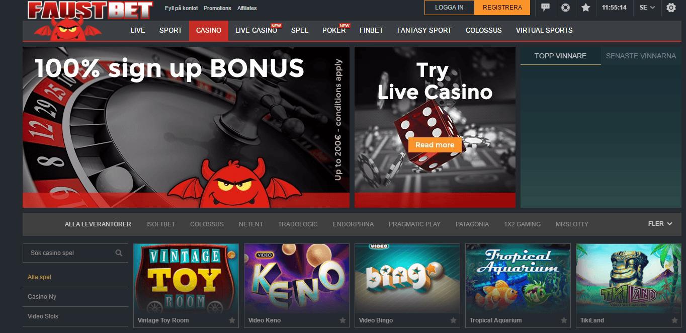 Faustbet online casino erbjuder 100% upp till 200€ i välkomstbonus