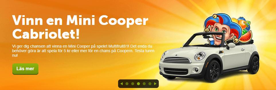 ComeOn erbjuder nu en mini cooper som jackpot