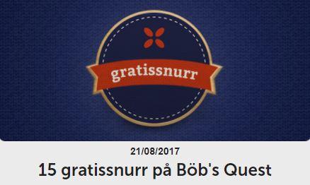 Dagens erbjudande folkeautomaten gratissnurr på Böb's Quest