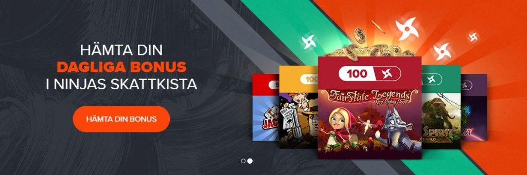 Hämta din dagliga bonus i Ninja Casinos skattkista