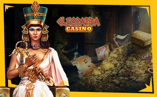 Cleopatra casino banner Spela casino med Egypten tema
