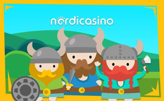 Nordicasino banner Casinoäventyr med färgglada vikingar