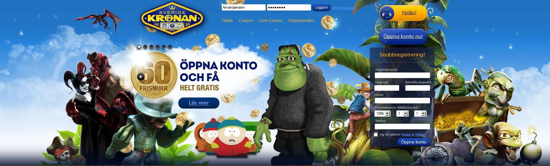 SverigeKronan 60 gratis snurr när du öppnat konto
